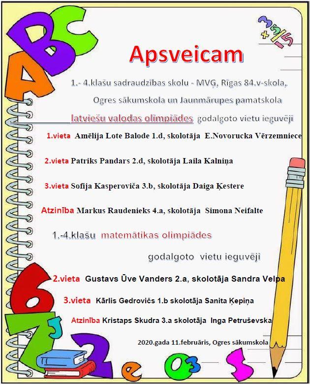 1.-4.klašu latviešu valodas un matemātikas olimpiādes