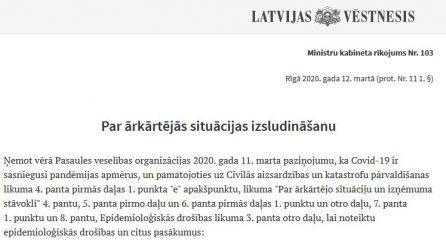 Latvijā ir izsludināts ārkārtas stāvoklis