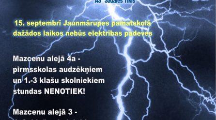 15.septembrī skolā daļēji nebūs elektrība!