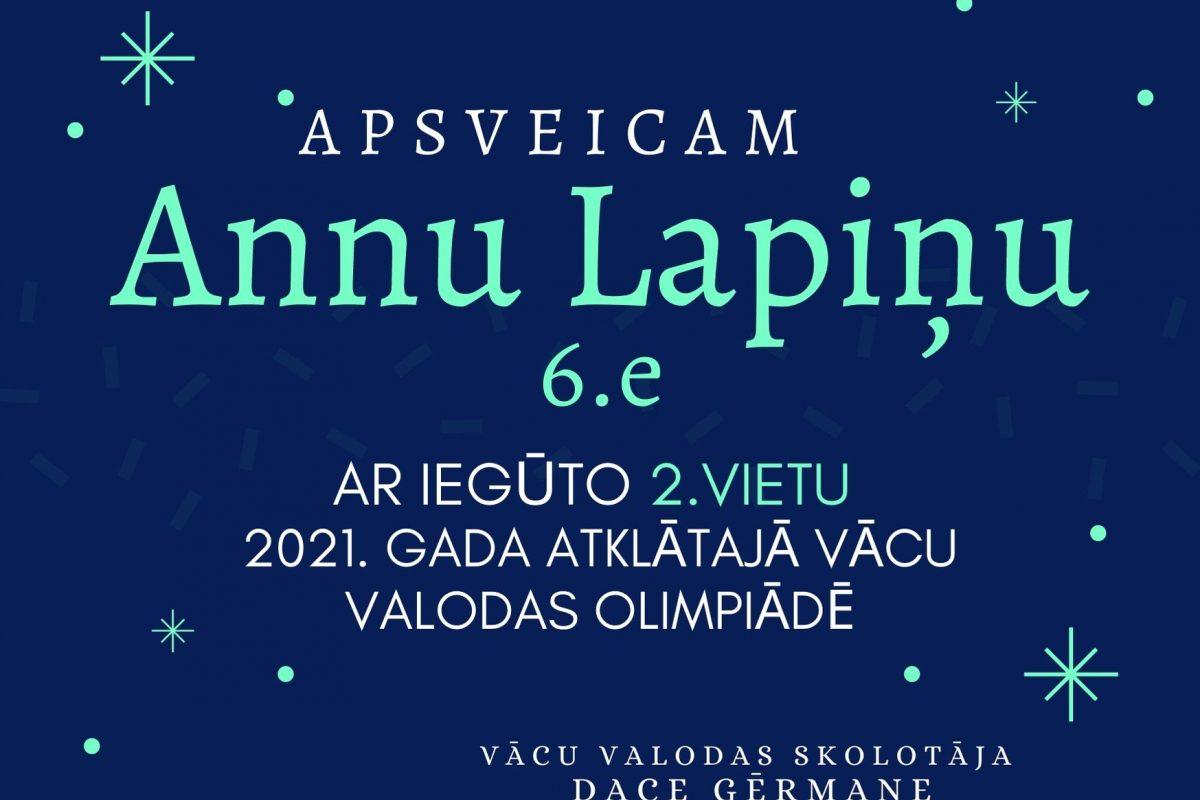Sveicam vācu valodas olimpiādes dalībnieci Annu Lapiņu