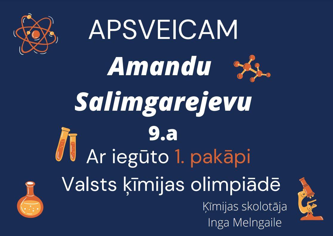 Apsveicam Amandu ar ķīmijas olimpiādē iegūto 1.pakāpi