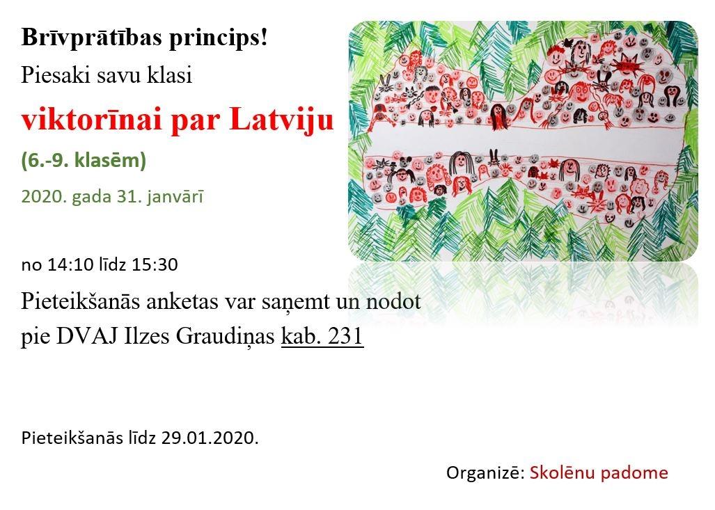 Piesaki savu klasi viktorīnai par Latviju